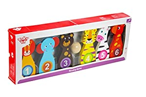 Tooky Toy - Juego de Bolos con Figura de Animales - Juguete Educativo de Madera a Partir de 18 Meses