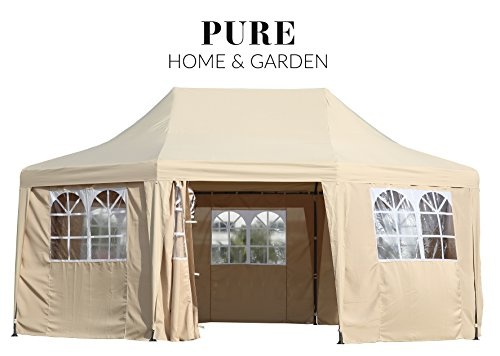Pure Home & Garden Luxus Pavillon Celebration, UV-Schutz 50 Plus, inkl. Aller Seitenteile, 550 x 400 cm, Dachhöhe verstellbar