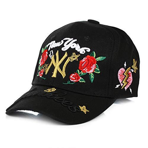 zhuzhuwen Hut weiblich männlich Rose Stickerei Kappe Vier Jahreszeiten koreanische Mode wild im Freien Sommer Baseballmütze 1 einstellbar