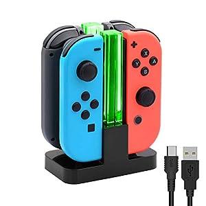 FYOUNG 4-in-1 Ladegerät für Switch Joy-Con Charging Dock mit LED-Anzeige und USB-Ladekabel