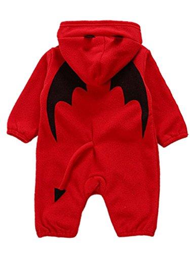 Cloom Halloween Kostüm Kleidung Baby Strampler mit Kapuze Overall Mädchen Jungen Jumpsuit Schneeanzüge Langarm-Bodysuits Baby Winterjacke Baby Jumpsuit Halloween Outfits Kleidung (Rot,70)