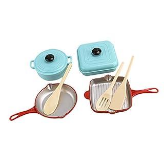 D DOLITY 9-Piece Kitchen Cooking Play Set Kitchen Accessories - Pot, Pans & Utensils