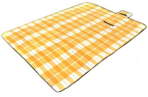 carrés tapis de pique-nique jaune et blanc à l'extérieur (200 * 200cm)