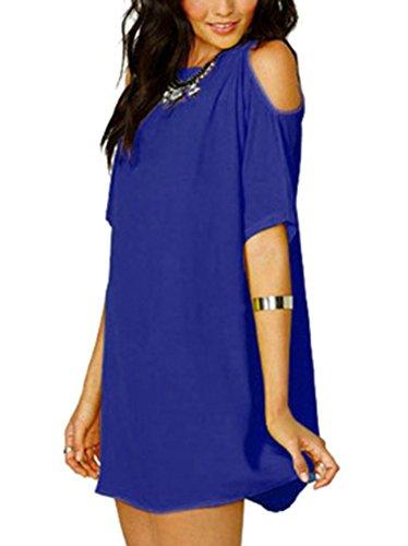 LaoZan Donna Camicetta Blusa Manica Corta Casual Elegante T Shirt Tunica Lungo Blu Zaffiro