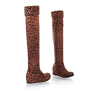 FMWLST Stiefel Frauen Stiefel Winter Herbst Flache Stiefel Über Das Knie High Heel Winter Warme Stiefel