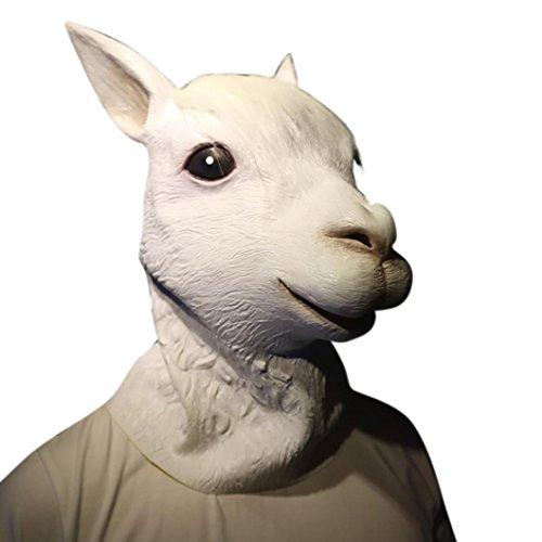 Omiky® Deluxe Halloween Kostüm Party Latex Tier Hund Kopf Maske klingende Stille Taube (Weiß) (Dummen Hund Kostüme)