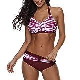 Bikini Mujer 2019 Push Up Logobeing, Conjunto de Bikini de Mujer Verano Traje de Baño Ropa de Playa Bañador - Beachwear 2614 (Rojo,XL)