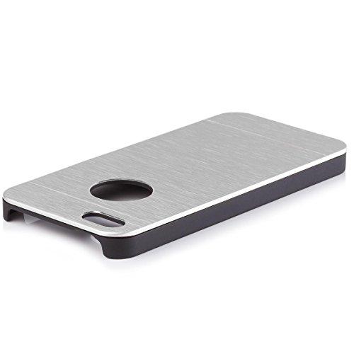 iCues Apple iPhone SE / 5S / 5 |  Alu Case Gebürstet Gold | [Display Schutzfolie Inklusive] CNC Aluminium Metall Metallic Schutzhülle Hülle Cover Schutz Silver