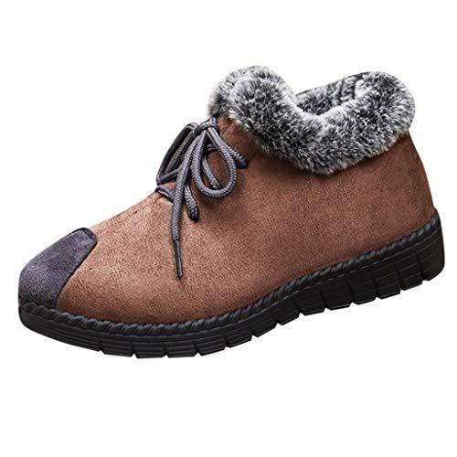HOUMENGO Botas Otoño Vintage con Cordones Retro de Cuero Plano Casual para Mujer, Botines Zapatos De...