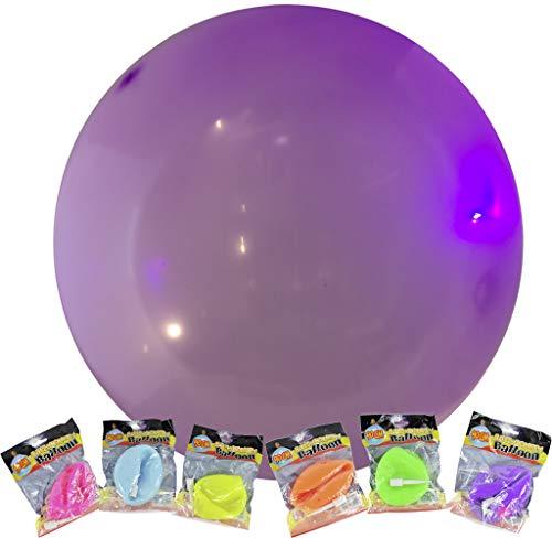 Trendyshop365 6 Stück - Anti Gravity Ballon aufblasbar bis 90cm im 6er Set inklusive Aufblasröhrchen Balloon Spielball Schwebeball (mit LED-Licht)