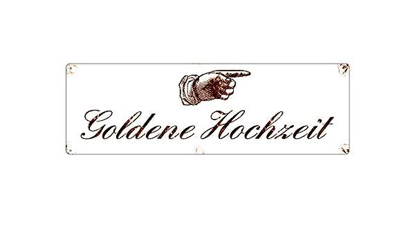 Metallschild Shabby Vintage Blechschild Goldene Hochzeit