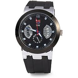 Leopard Shop TVG KM - 478 Male Quartz Watch Calendar Luminous Pointer 30m Water Resistance Wristwatch Black