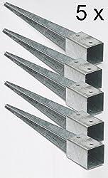meingartenversand.de Bodenanker in U Form f/ür Holzpfosten 9x9 zum Einbetonieren aus Stahl verzinkt