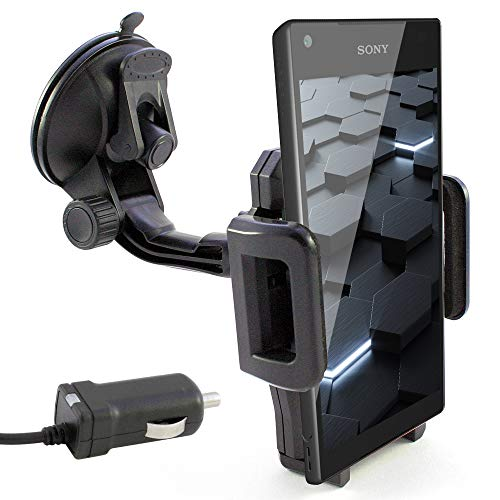 KFZ Halterung inkl. Auto Ladekabel für SONY Xperia Z5 / Z5 Premium / Z5 Compact / Z3 / Z3 + Plus / Z3 Compact / Z2 / Z1 / Z1 Compact / Z / Z Ultra / E5 / XA / X / M5 / X Performance / ZL / E / SP / L / T2 Ultra / M2 / E1 / style / M2 Aqua / E3 / E4g / M4 Aqua / Windschutzscheibe Halter schwarz