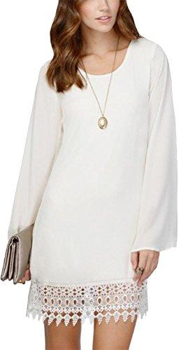 SMITHROAD Damen Sommer Chiffonkleid Minikleid Trompetenärmel mit Lace Spitzen Saum Langarm Schwarz Weiß Gr.34 bis 42 Weiß