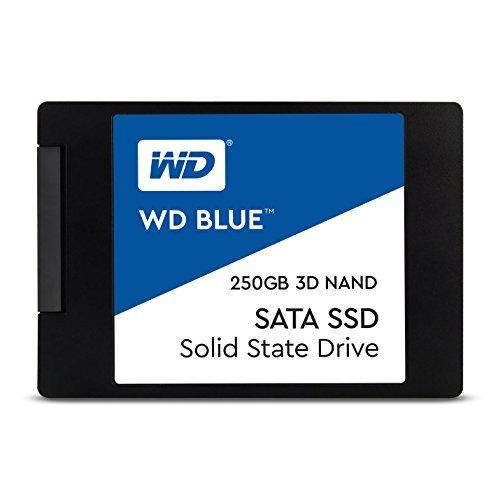 WD Blue 3D NAND 250GB. Interne NAND SATA III-SSD, 6 Gbit/s 2,5 Zoll (7mm) Festplatte von Western Digital. Verbesserte Energieeffizienz. Optimiert für Multitasking und ressourcenintensive Anwendungen WDS250G2B0A