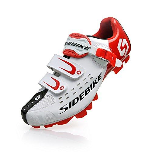 Unisexe respirant chaussures de vélo professionnels pour route et VTT SD-001 Blanc / Rouge pour le VTT