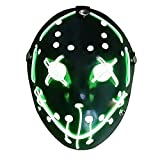Mallalah Máscara de Halloween LED Light Up Purge Mask Jason Scary Máscara para Fiesta de Disfraces Máscaras para Adultos Juguetes para Fiestas Festival Cosplay Disfraz de Halloween (Verde)