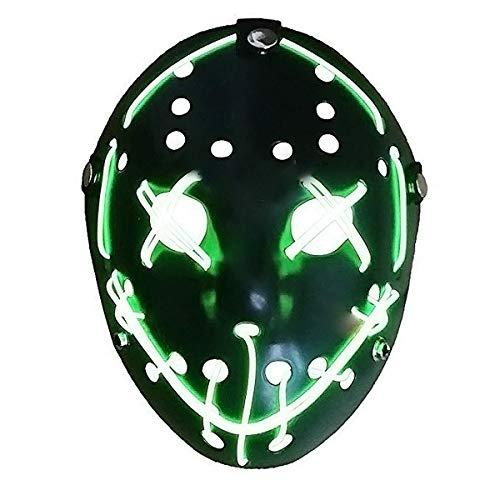 (EisEyen Jason Ice-Hockey Maske Friday 13 Eishockey Hockeymaske, Jason Freddy Hockey Festival Halloween Maske (LED Grün))