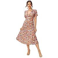 SheIn Women's Floral Print Split Side V Neck Short Sleeve Casual Long Dress Pink M