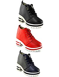 TEQTO Women's Black, Red And Blue Pack Of 3 Ankle Boots {Combo-27}