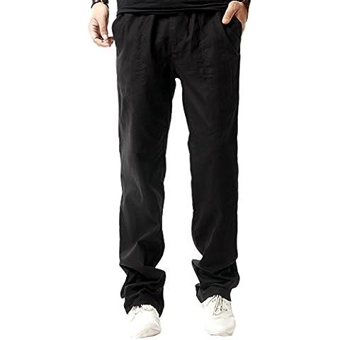 Biwinky Pantalón Pants de Lino Largo Casual Elástico Hombre