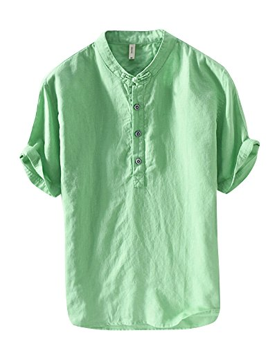 Uomo camicia in lino senza collo casual leggero camicia maniche corte pullover verde m