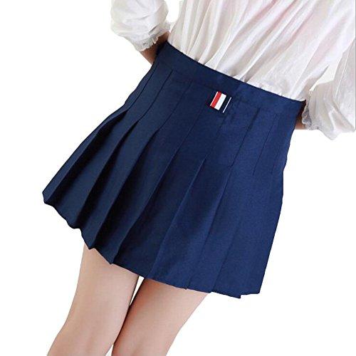 Doux Jupe Plissée hibote Femmes Preppy Style Mini Taille Haute Jupe Filles Vintage School Uniformes Jupes Bleu foncé