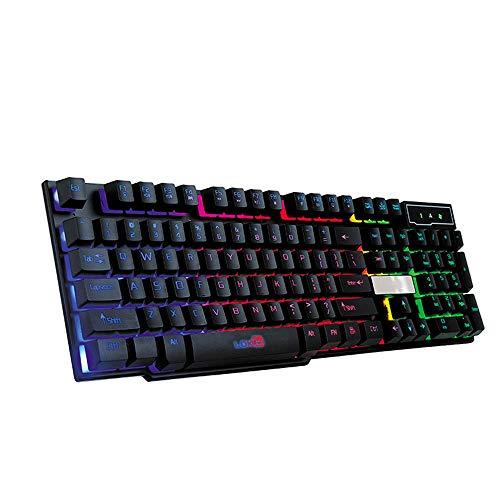 Kuhxz Gaming-Tastatur, Bunte Knack-LED beleuchtet, Hintergrundbeleuchtung, USB, verkabelt, PC Rainbow Gaming Tastatur für Desktop, Computer Beige schwarz 104 Keys -