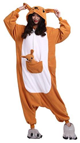 sene Cartoon Tier Kigurumi Pyjamas Nachtwäsche Mit Kapuze Cosplay Kostüm Känguru M for Höhe 156-167CM (Halloween Kostüme Für 2 Freundinnen)