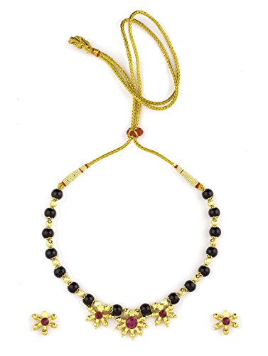 Womens Trendz Fancy Crystal Mani with Three Pendants24K Gold Plated Alloy Mangalsutra and Earring Set  available at amazon for Rs.710