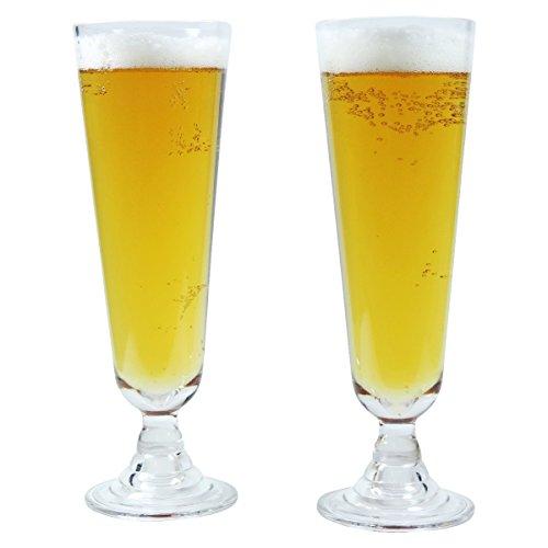 2 x bruchfestes Bierglas ca. 490 ml, Cocktailglas, Longdrinkglas, Gläser Set aus hochwertigem Kunststoff (Polycarbonat), edle Gläser für Camping, Partys (wie echtes Glas)