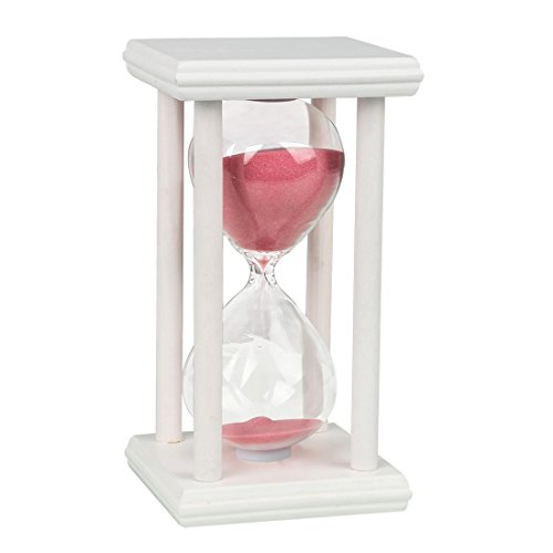 GZQ Temporizador de Reloj de Arena 30 Minutos Reloj de Arena Cristal Temporizador de Tiempo Madera Decoración para Cocina Estudio del Tiempo (Marco Blanco, Arena Rosa)