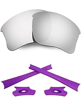 HKUCO Silver Polarized Replacement Lenses and Purple Earsocks Rubber Kit For Oakley Flak Jacket XLJ Sunglasses