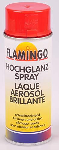 Unbekannt Flamingo Kunstharz-Lackspray 400ml Farbspray Sprühdose Lack matt glänzend, Farbe:RAL 3000 feuerrot glänzend