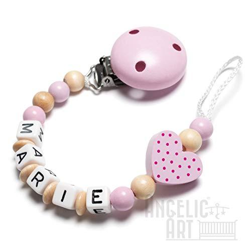 Schnullerkette mit Namen - Auto, Herz, Eule, Wolke, Stern für Mädchen und Jungen (Herz, rosa, natur)