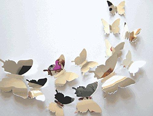 OSYARD Wandaufkleber Wandtattoo Wallsticker,12 PCS Schmetterling Kombination Abziehbilder 3D Spiegel Wand Aufkleber Home Dekoration DIY Wandtattoo Wohnzimmer Schlafzimmer Kinderzimmer Wandsticker