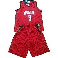 Paul # 3 Rockets Basketball Shirt, Conjunto de Chaleco y Pantalones Cortos de Dos Piezas para Juegos de Baloncesto, Jersey Swing Black (s-XXXL)-Red-L
