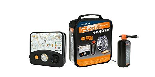 """Preisvergleich Produktbild TERRA-S Reifenpannenset """"1-2-GO"""" mit 450ml Dichtmittel - schwarze Tasche"""