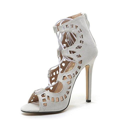 ALUK- L'Europe et les États-Unis - Sexy Toe Hollow Sandales à talons hauts Chaussures sauvages ( Couleur : Gray , taille : 37 ) Gray