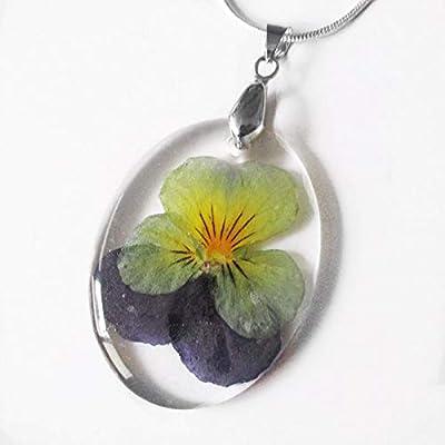 Pendentif Fleur de Pensée en résine et fleurs - Bijou nature Collier en fleurs séchées colorées …