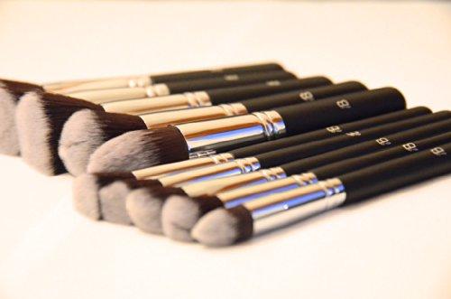 12x Make-Up Pinsel Set IB 'Essential - You Are The One For Me' Luxus Langer Griff Schwarz Mit Chrom Kupfer Für Augen & Gesicht