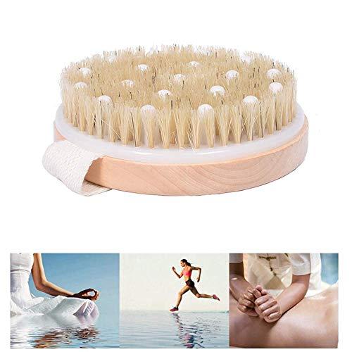 DBSCD Massage-Körperbürste mit natürlichem Wildschweinborsten-Bambus für nasse oder trockene Haut Bürsten Peeling für die Haut, Anregung des Lymphsystems Durchblutungsfördernde Wirkung -