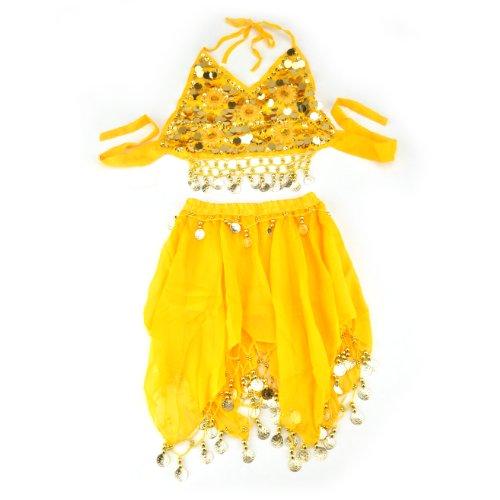 BellyLady Kinderbauchtanz -Kostüm, Gelb Halter Top & Rock-Satz (Verkauf Bauchtanz Kostüm)