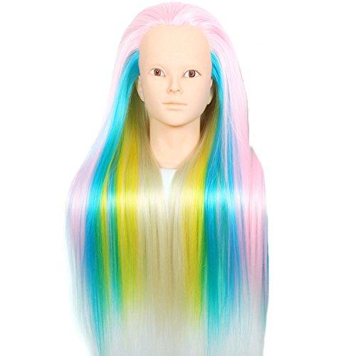 Royalvirgin Colorfull Rose synthétique Tête d'entraînement 61 cm Tête de mannequin de coiffure Cheveux Têtes de poupée Cosmétologie Mannequin femme de coiffure vente