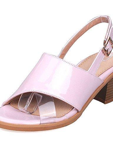 LFNLYX Scarpe Donna-Sandali-Formale / Casual-Con cinghia / Aperta-Quadrato-Vernice-Giallo / Rosa / Bianco / Argento Silver