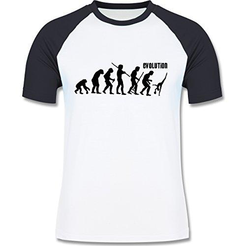 Evolution - Rhythmische Sportgymnastik Evolution - zweifarbiges Baseballshirt für Männer Weiß/Navy Blau