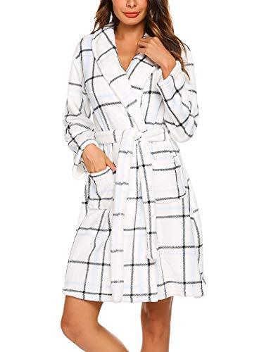 MAXMODA Batas Kimono Baño Mujer Albornoz Mujer Cuadros