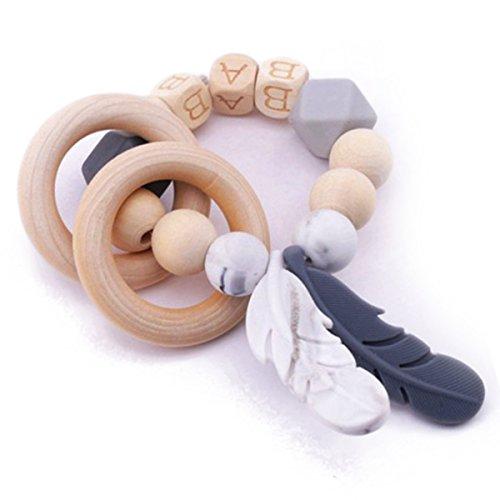 baby tete Bébé de Dentition de Silicone Octogonal 26 lettres Perles à croquer en bois rondes et sécuritaires Plume Cadeau De douche Montessori Toys