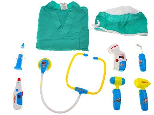 BSD Kinder Rollenspiel - Doctor Medizinisch Spielset - Spielzeug Medizinisch Geräte mit Schürze und Zubehör - Grün